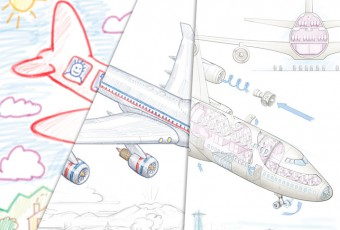 advertising illustration Boeing 747 cut-a-way