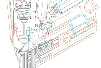 Technical illustration line drawing cut-a-way of nail gun created in Adobe Illustrator.