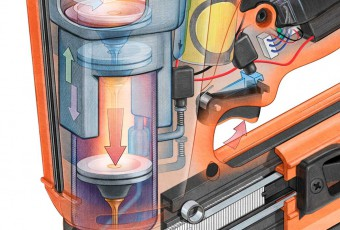 technical illustration nail gun detail