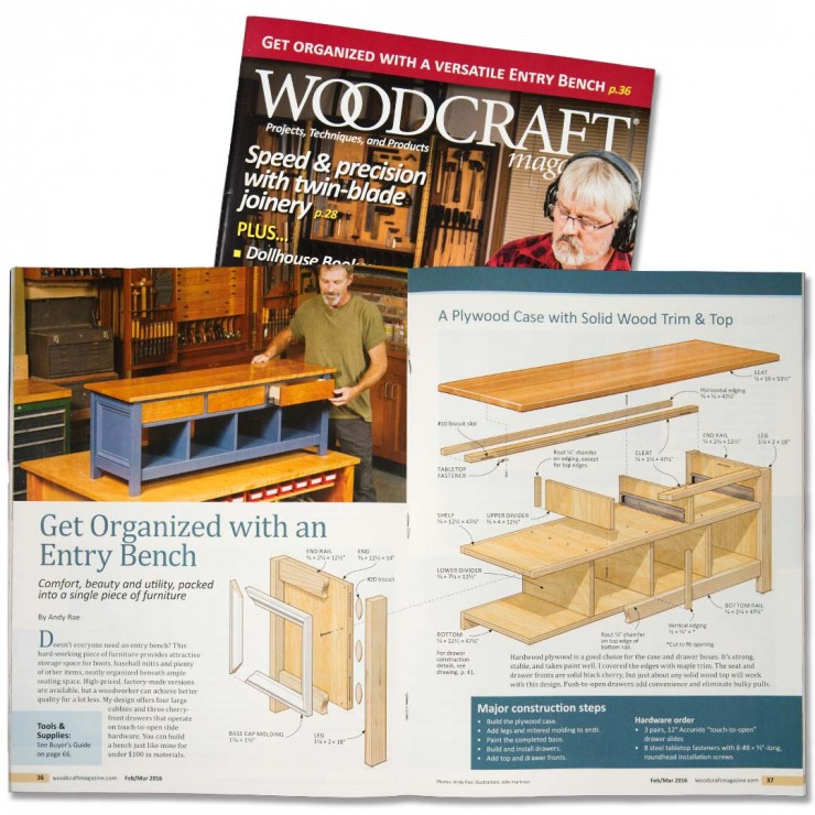 Woodworking Illustration Entry Bench