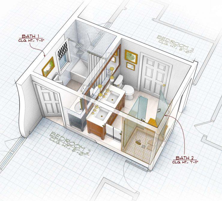 Interior Design Rendering John Hartman Illustration