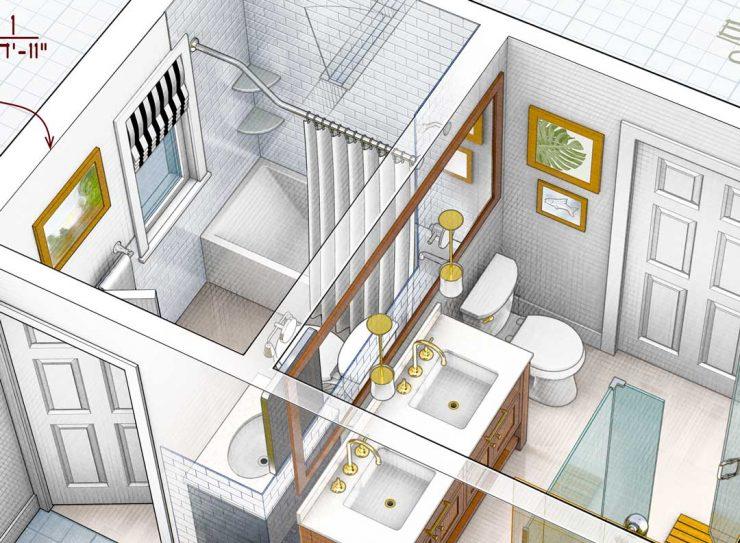 Interior Design Rendering Bathroom Remodel